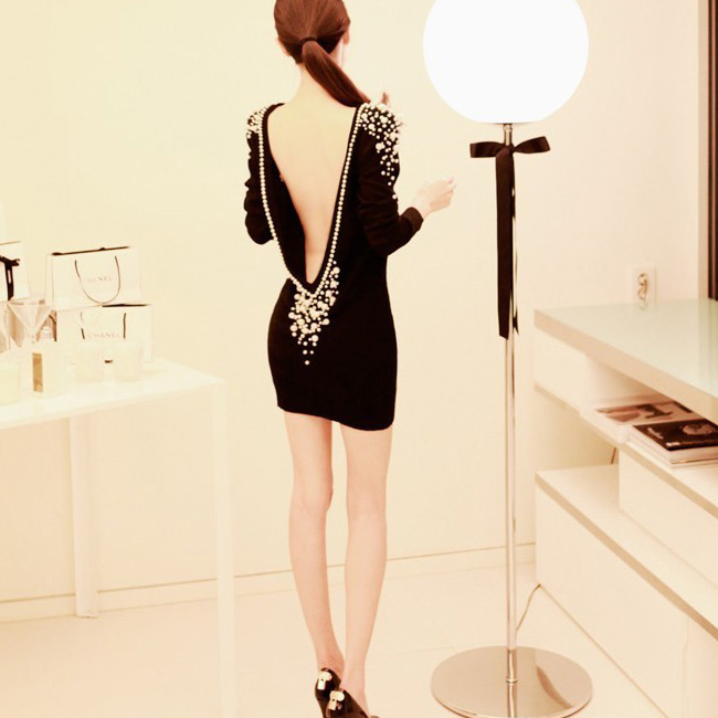 Aliexpress.com : buy 2014 hot women's embellished luxury pearls beaded sexy backless long sleeve party cocktail black mini dress from reliable dress new suppliers on shenzhen gache trading limited