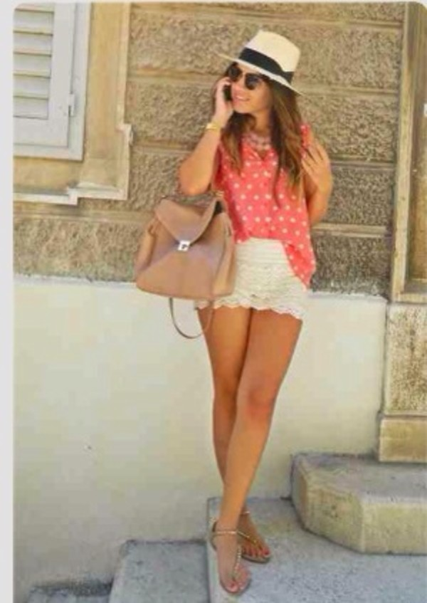 shorts mini shorts white shorts white hat sun summer outfits summer shorts bag sunglasses shoes tank top hat