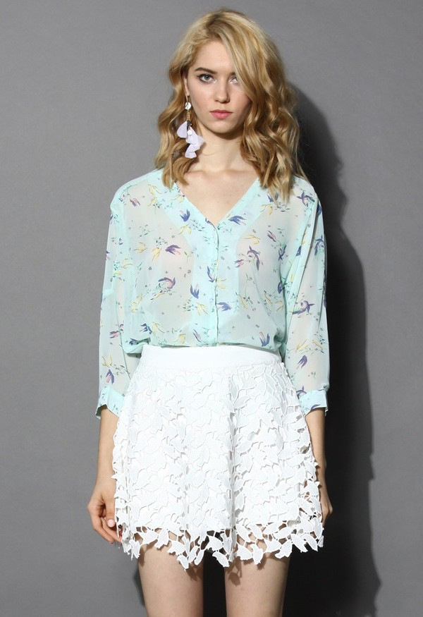 chicwish ethereal swallow print chiffon shirt