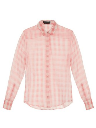 blouse silk gingham white pink top