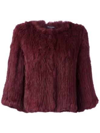 jacket fur jacket cropped fur purple pink