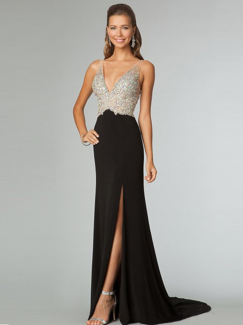 Sheath/Column V-neck Beading Sleeveless Chapel Train Chiffon Prom Dresses - Long Prom Dresses - Prom Dresses