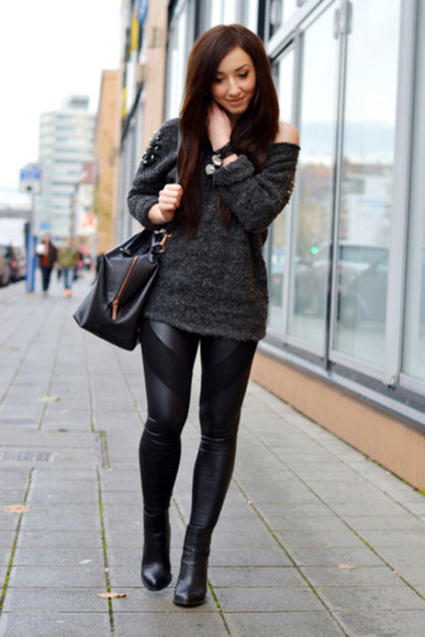 sweater jeans oversized black leggings panel leather pvc pvcleggings oneshoulder jumper female