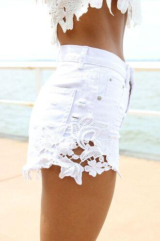 shorts highwait shorts crochet crochet shorts white denim shorts