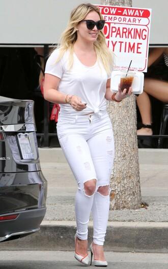jeans sunglasses white jeans white hilary duff