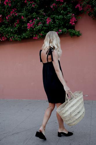 dress tumblr mini dress black dress summer dress summer outfits mules shoes black shoes bag basket bag woven bag