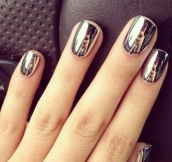 silver nail polish chrome nails