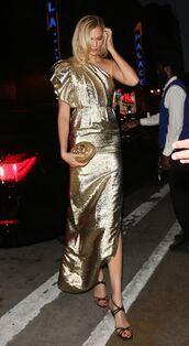 dress,gold,gold dress,metallic,gown,slit dress,one shoulder,sandals,shoes