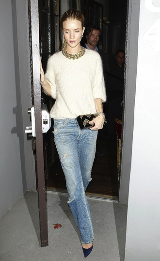 jewels sweater bag jeans shoes rosie huntington-whiteley
