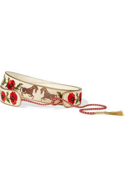 Stella Mccartney Embroidered Cotton-Canvas Waist Belt in red / white
