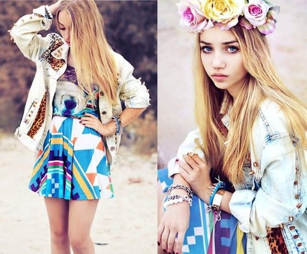 dress aksinya air alpaca circle dress mr.gugu and miss go self made flower crown flower crown denim jacket jewels ukraine zayn malik