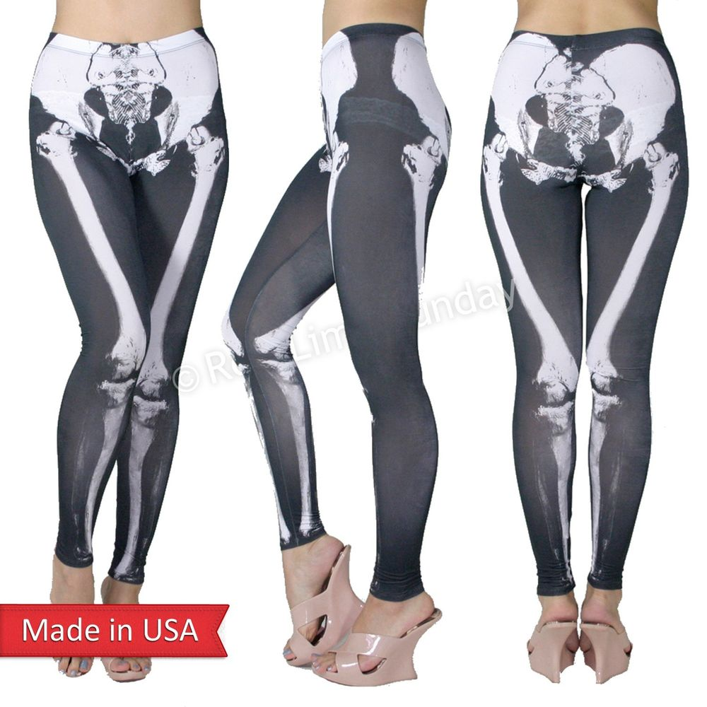 Women skeleton x ray bone legs print halloween spooky leggings tights pants usa