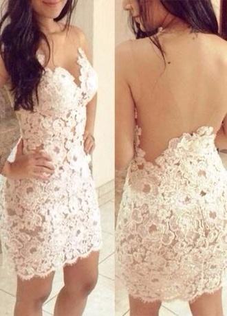 dress white dress lace dress white lace dress backless white dress backless dress white floral short dress prom dress short prom dress white prom dress