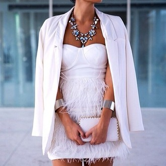 dress feather dress feathers white white dress cocktail dress