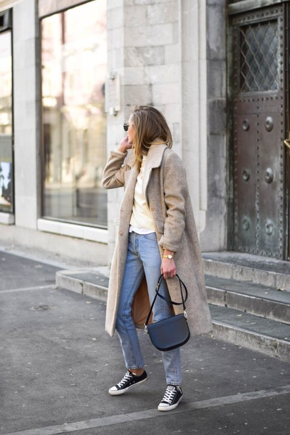 coat tumblr nude coat long sleeves long coat sweater sweater weather denim jeans blue jeans black sneakers sneakers black converse converse bag black bag