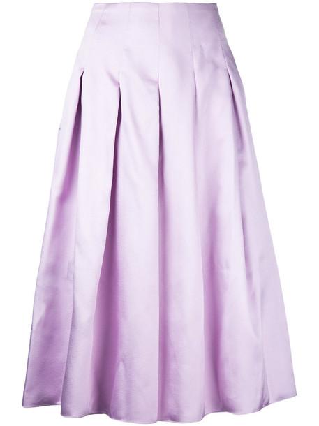 Bambah skirt midi skirt pleated women midi silk purple pink