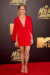 dress,red dress,mini dress,sandals,mtv movie awards,brittany snow,plunge dress,shoes,couture caddy,blogger