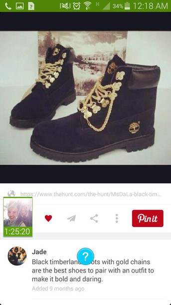 shoes timberlands boots gold black chain