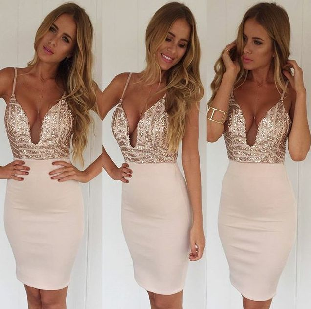 5b56b6bbf0 Rose Gold Sequin Mesh Deep Plunge Bodycon Midi Dress Boutique ...