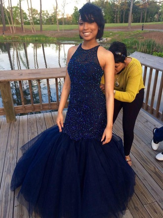 dress navy dress mermaid poof prom sparkly sleeveless