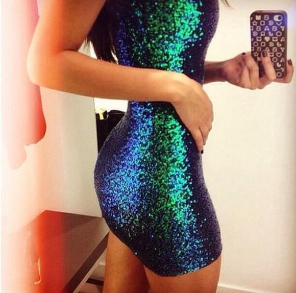 green glitter blue party girl sequin dress party dress