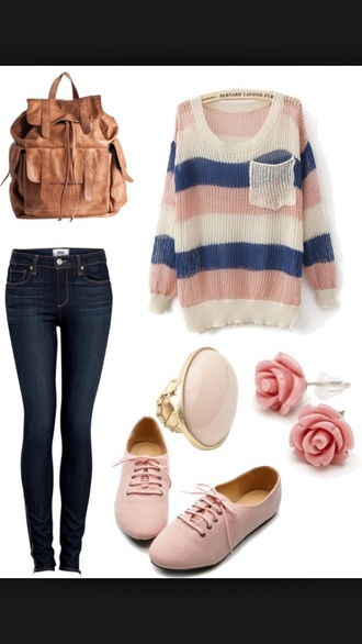 bag leather bag backpack sweater