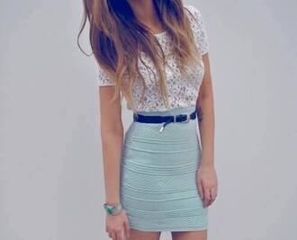 dress clothes skirt shirt t-shirt bodycon skirt mini skirt aztec aqua top adorable pale blue skirts professional looking