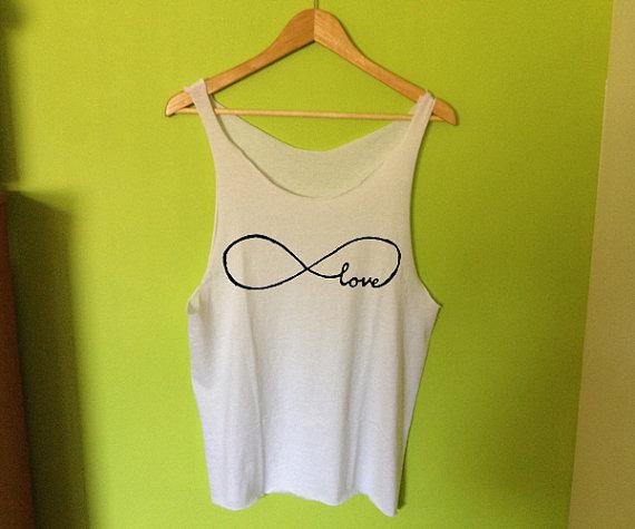 Infinity Love Printed Tee Shirt Tank on Wanelo