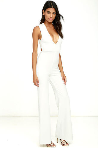 jumpsuit clothes white jumpsuit white wide-leg pants plunge v neck plunge neckline summer outfits classy elegant date outfit clubwear romantic celebrity style cute sexy girly