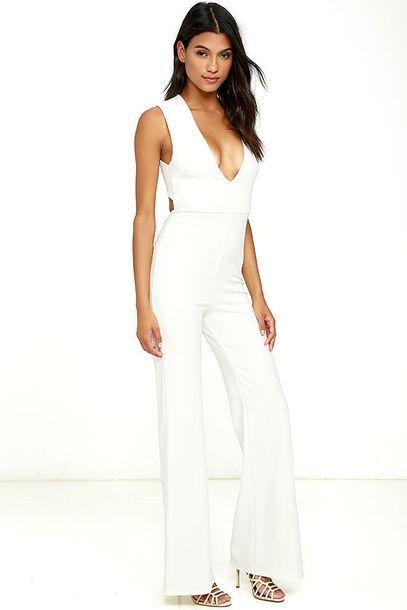 Jumpsuit clothes white jumpsuit white wide-leg pants plunge v neck plunge neckline summer ...