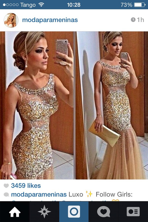 prom dress sparkle nude
