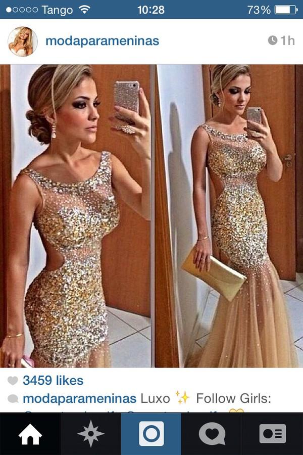prom dress sparkle nude