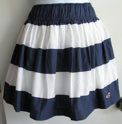 1866cd73b Hollister by Abercrombie Blue White Striped Mini Skirt Sz M $39 50   eBay