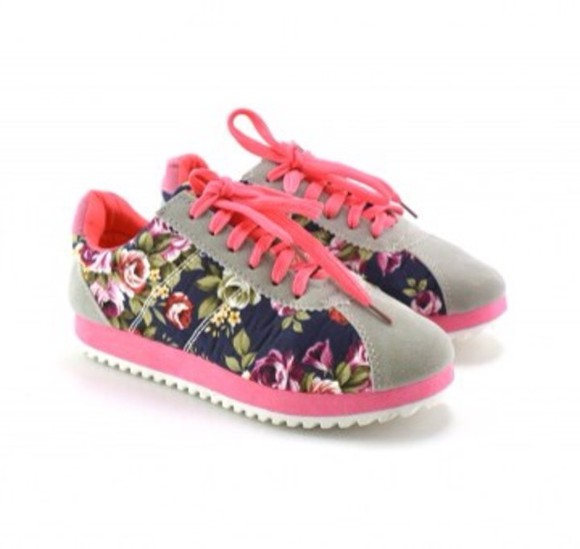 shoes sneakers pink flowers pattern