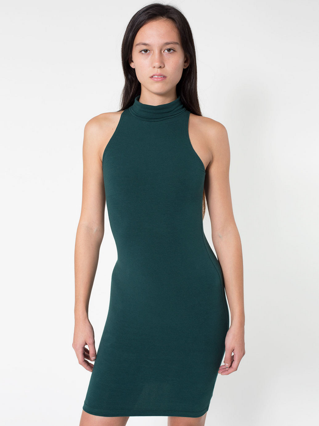 Cotton Spandex Jersey Sleeveless Turtleneck Dress | American Apparel