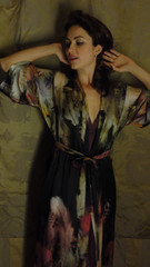 Christine vancouver feather print long robe