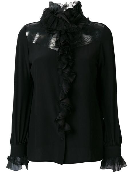 blouse ruffle women lace black silk top