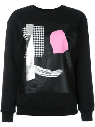 sweatshirt women cotton print black sweater