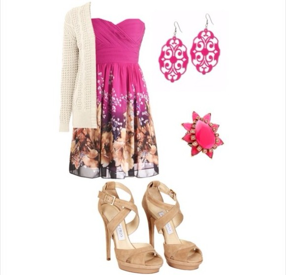 dress floral dress pink cross over dress off white cardigan pink dangle earrings pink flower ring nude high heels