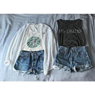shirt clothes cardigan los angeles starbucks coffee top sweater tank top blouse high waisted shorts cute nice summer pretty vintage floral t-shirt