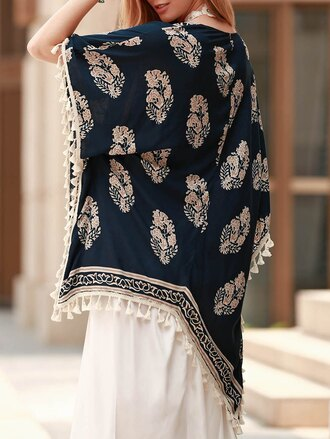 cardigan kimono navy pattern fashion style fringes summer spring gamiss