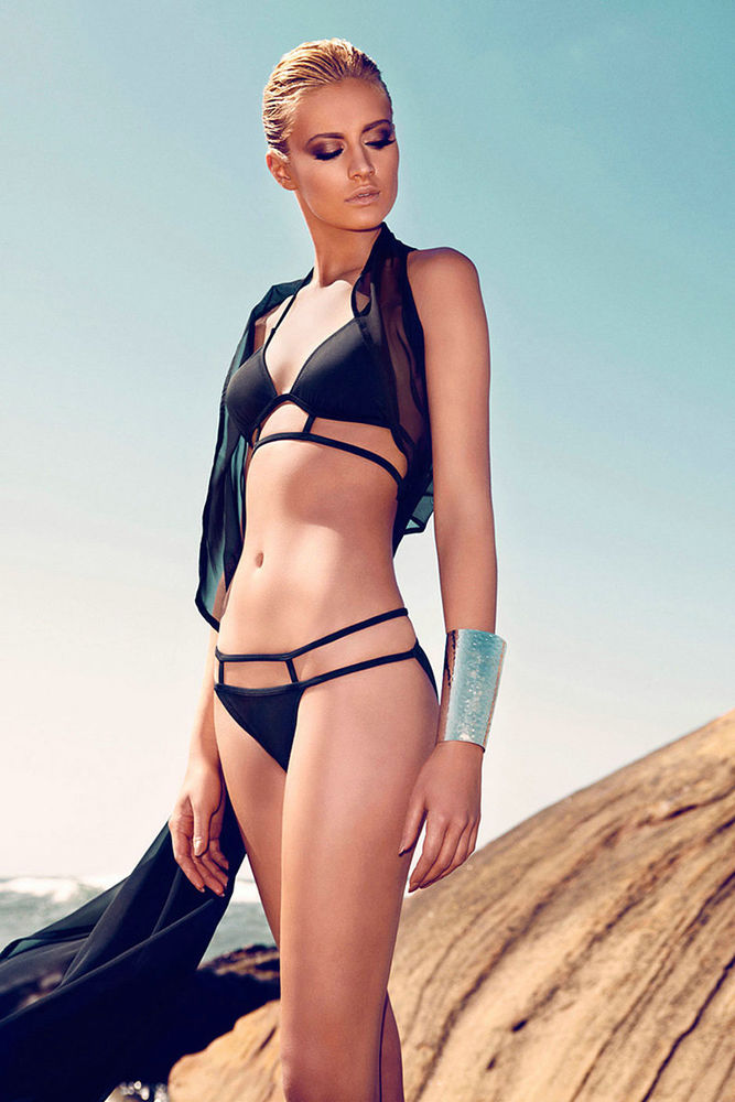 Beachwear Black Strappy Padded Fully Lined Bikini Top   Bottom Swimsuit @XC1006 | eBay
