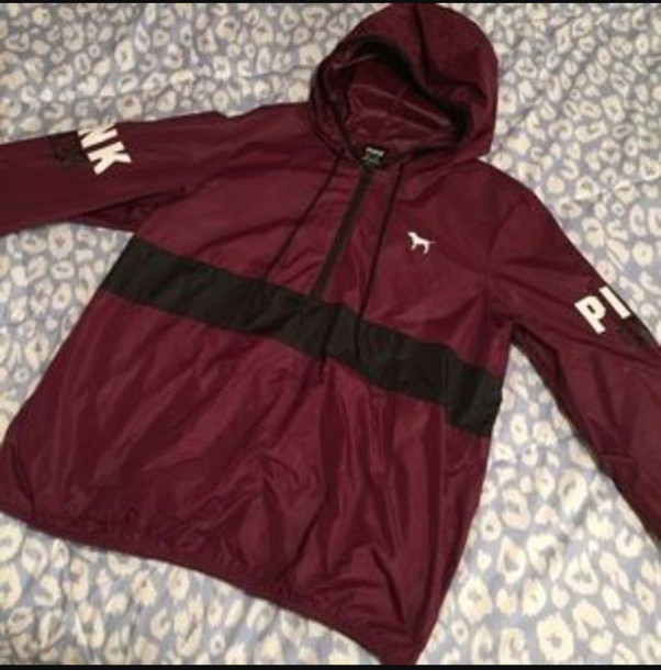 Sweater: pink windbreaker, windbreaker, burgundy, black, pink ...