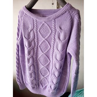 sweater lilac knitwear long sleeves sweet solid color round collar raglan sleeve twist wave pullover sweater for women fashion style trendy cool warm fall outfits rose wholesale dec rose wholesale-dec