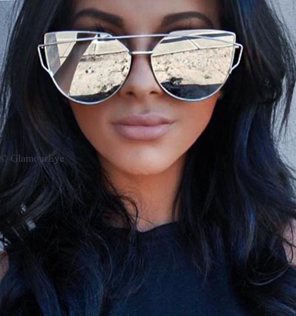 Large Flat Cat Eye Gentle Love Fashion Mirror Metal Wire Big It Sunglasses 4113