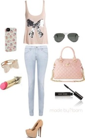 bag,sunglasses,pink,purse,cross,heels,bow,flowers,sparkle