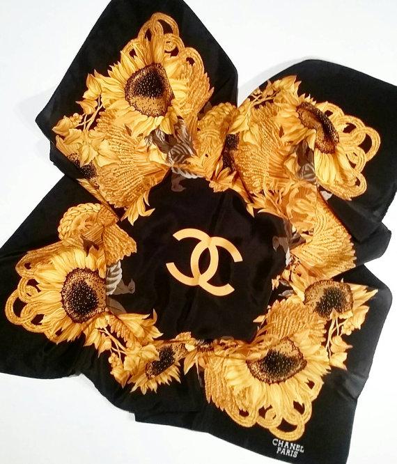 Vintage Cc Chanel Silk Scarf Black W Gold Chains