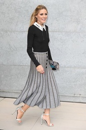 skirt,top,olivia palermo,fall outfits,milan fashion week 2016,sandals,midi skirt,collar,jewels,jewelry,choker necklace,black choker,necklace,celebrity style,celebrity,celebstyle for less