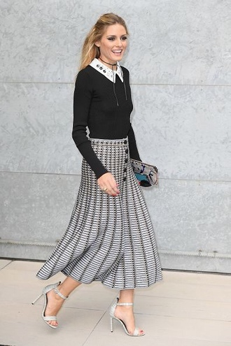 skirt top olivia palermo fall outfits milan fashion week 2016 sandals midi skirt collar jewels jewelry choker necklace black choker necklace celebrity style celebrity celebstyle for less