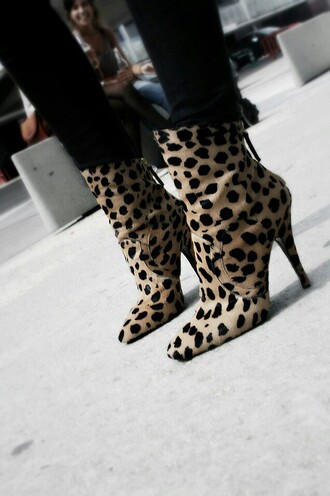 shoes ankle boots animal print